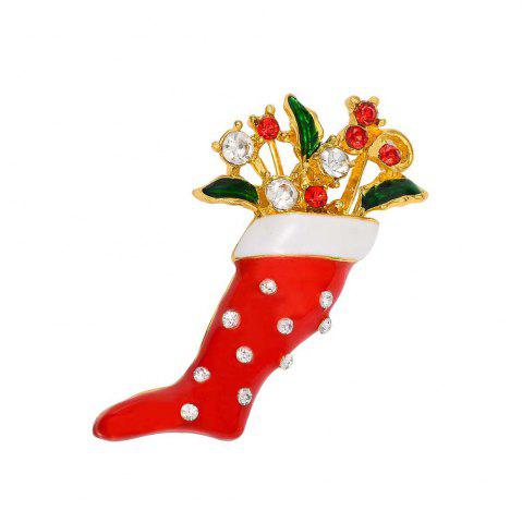 Affordable Crystal Enamel Brooch Pin Christmas Stocking Shape Pin Brooch Wedding Party Christmas Gift Jewelry Party Supplies