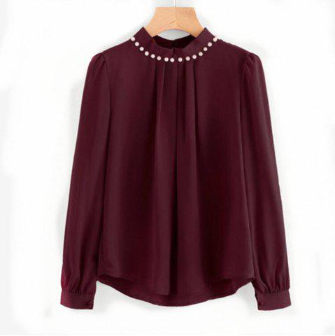 Cheap Nailed Long Sleeved Chiffon Shirt