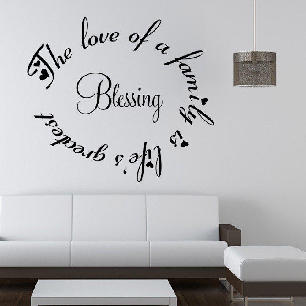 Black 51 X 58 Cm Dsu Diy Creative Wall Sticker Blessing The Love Of