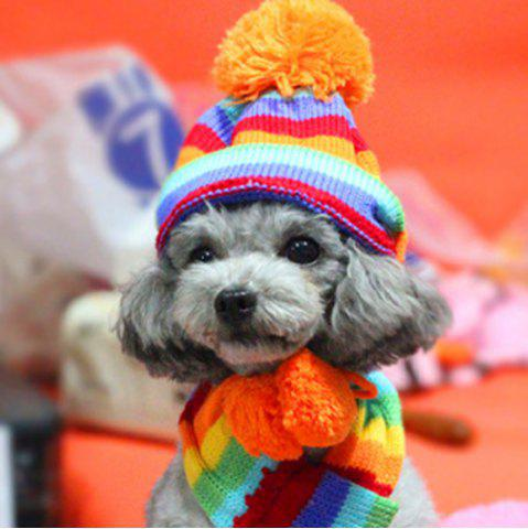 Lovoyager LVC1130 Pet Winter Cuddly Dog Three-Piece Scarf Hat - COLORFUL - XXS