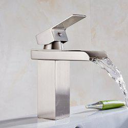 Contemporary Chrome Single Handle Widespread Waterfall Bathroom Sink Faucet -