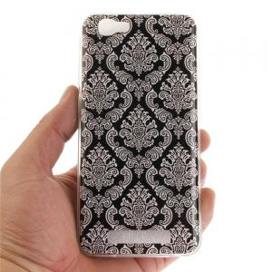 Totem Flowers Soft Clear IMD TPU Phone Casing Mobile Smartphone Cover Shell Case for ZTE Blade A610 -