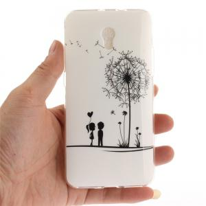 A Lover and A Dandelion Soft Clear IMD TPU Phone Casing Mobile Smartphone Cover Shell Case for ZTE Blade V7 -