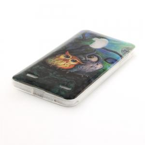 Oil Painting Owl Soft Clear IMD TPU Phone Casing Mobile Smartphone Cover Shell Case for ZTE Blade V7 Lite -
