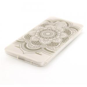 Big White Flower Soft Clear IMD TPU Phone Casing Mobile Smartphone Cover Shell Case for ZTE Blade V7 Lite -