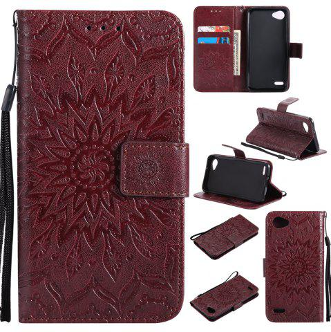 New Sun Flower Printing Design Pu Leather Flip Wallet Lanyard Protective Case for LG Q6 / G6 Mini