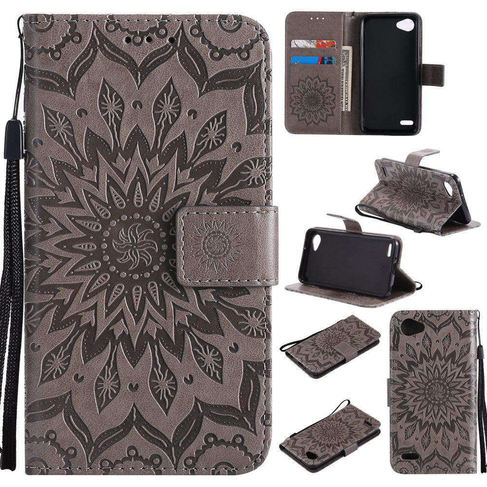 Hot Sun Flower Printing Design Pu Leather Flip Wallet Lanyard Protective Case for LG Q6 / G6 Mini