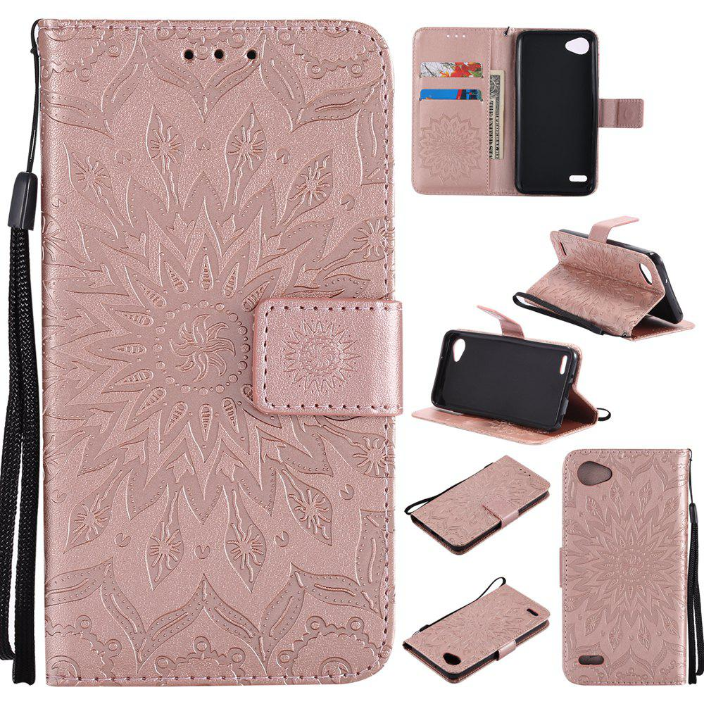 Shop Sun Flower Printing Design Pu Leather Flip Wallet Lanyard Protective Case for LG Q6 / G6 Mini