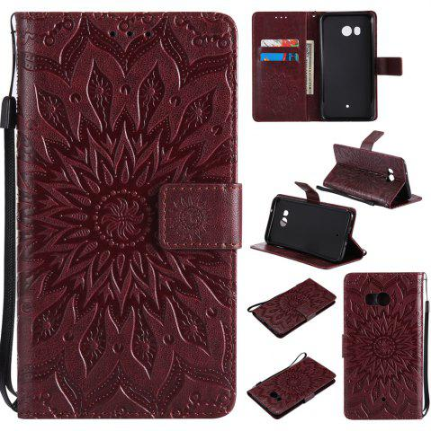 Shops Sun Flower Printing Design Pu Leather Flip Wallet Lanyard Protective Case for HTC U11