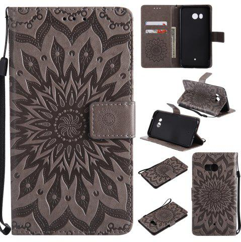 Discount Sun Flower Printing Design Pu Leather Flip Wallet Lanyard Protective Case for HTC U11