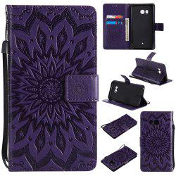 Sun Flower Printing Design Pu Leather Flip Wallet Lanyard Protective Case for HTC U11 -