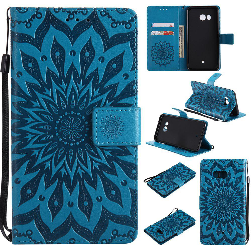 Cheap Sun Flower Printing Design Pu Leather Flip Wallet Lanyard Protective Case for HTC U11