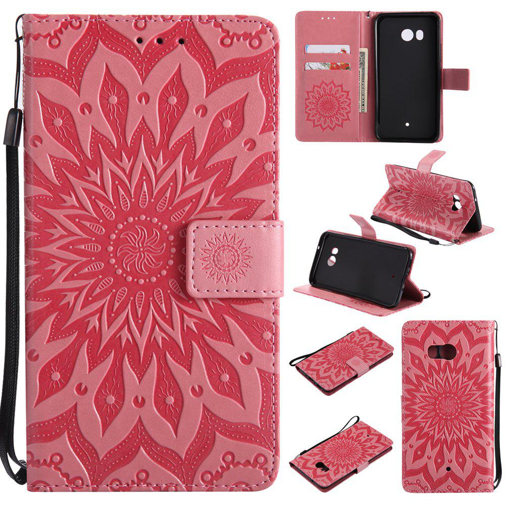 Fashion Sun Flower Printing Design Pu Leather Flip Wallet Lanyard Protective Case for HTC U11