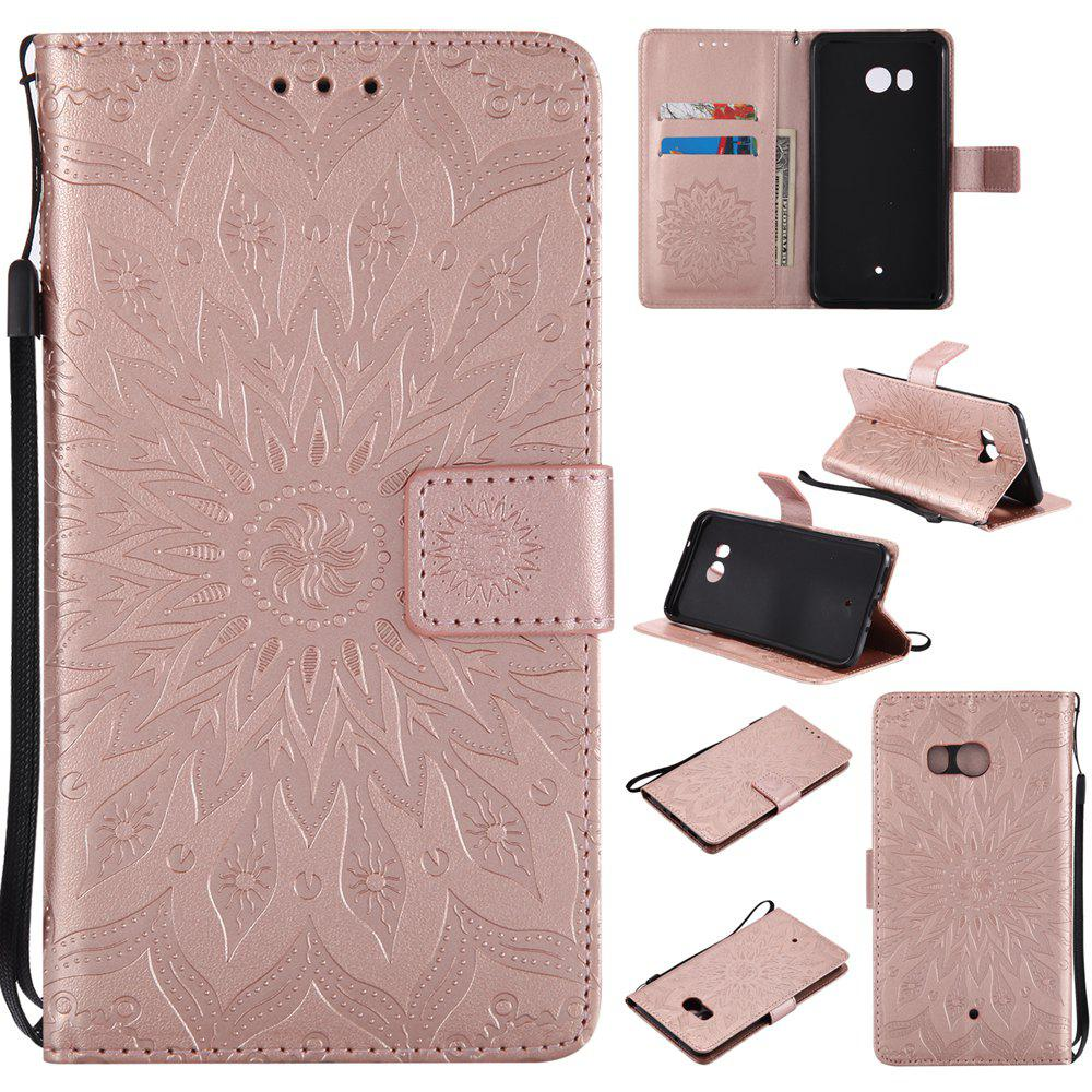 Chic Sun Flower Printing Design Pu Leather Flip Wallet Lanyard Protective Case for HTC U11