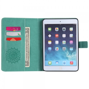 Sun Flower Printing Design Pu Leather Flip Wallet Lanyard Protective Case for iPad Mini 1 / 2 / 3 -