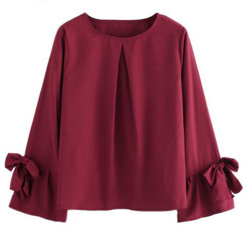 Outfits Women's Fashionable Round Neck Loose Wrinkled Long-Sleeved Chiffon Shirt