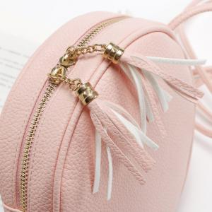 Candy Color Round Women Messenger Bag PU Leather Tassel Shoulder Bag -