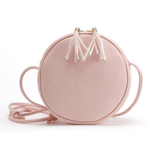 Trendy Candy Color Round Women Messenger Bag PU Leather Tassel Shoulder Bag