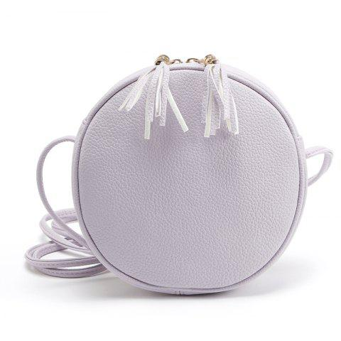 New Candy Color Round Women Messenger Bag PU Leather Tassel Shoulder Bag