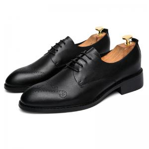 Single Layer Soft Leather Sculpted English Style Leather Shoes -