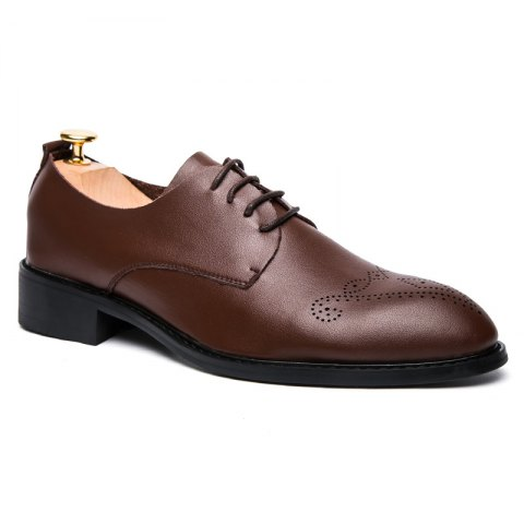 Online Single Layer Soft Leather Sculpted English Style Leather Shoes