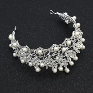 Luxury new bride diamond pearl hoops crown -