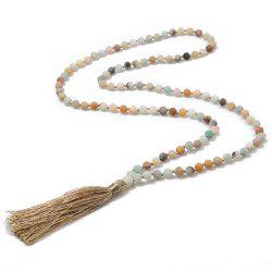 High Quality Trendy Handmade Natural Stone Yoga Tassel Beaded Necklaces -