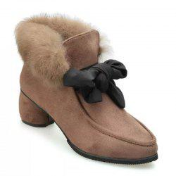 Autumn and Winter Pointed Rabbit Hair Bowknot Shoes -