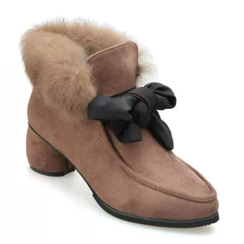 New Autumn and Winter Pointed Rabbit Hair Bowknot Shoes