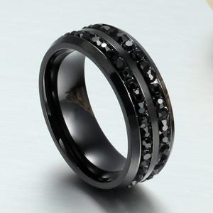 Men's Fashion Wild Black Diamond Titanium Steel Ring -