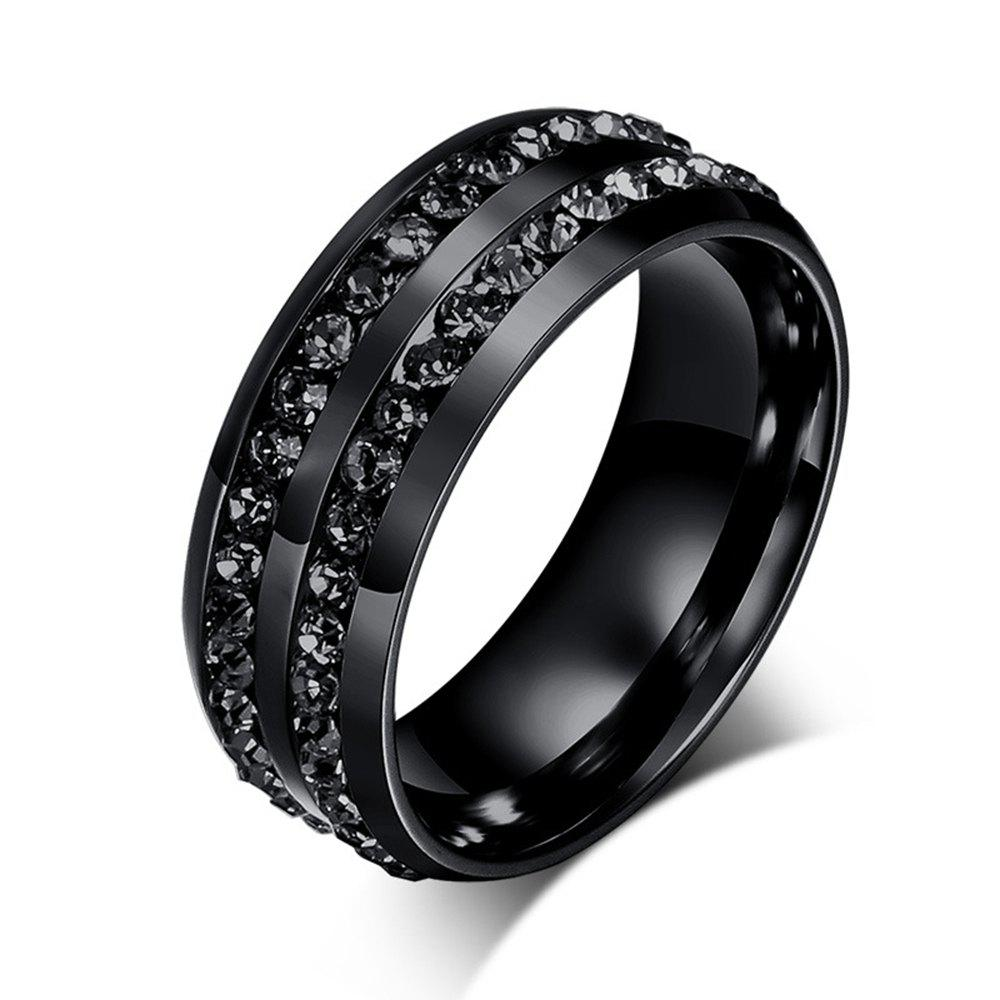 Online Men's Fashion Wild Black Diamond Titanium Steel Ring