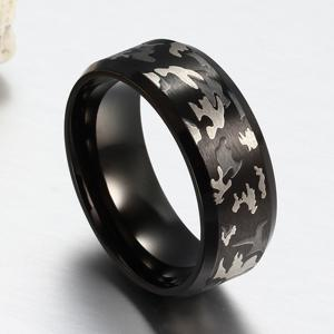 Ethnic Wind Jewelry Laser Tri-Color Camouflage Titanium Steel Men's Rings -