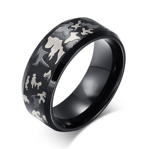 Shop Ethnic Wind Jewelry Laser Tri-Color Camouflage Titanium Steel Men's Rings