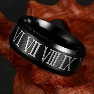 Titanium Steel Rome Digital Ring Personalized Men's Fashion Accessories -
