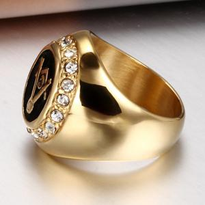 Male Fashion Jewelry 18K Czech Diamond-Titanium Gold Masonic Ring -