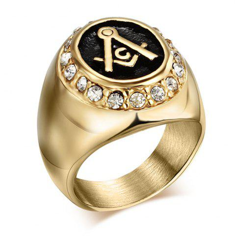 Outfit Male Fashion Jewelry 18K Czech Diamond-Titanium Gold Masonic Ring