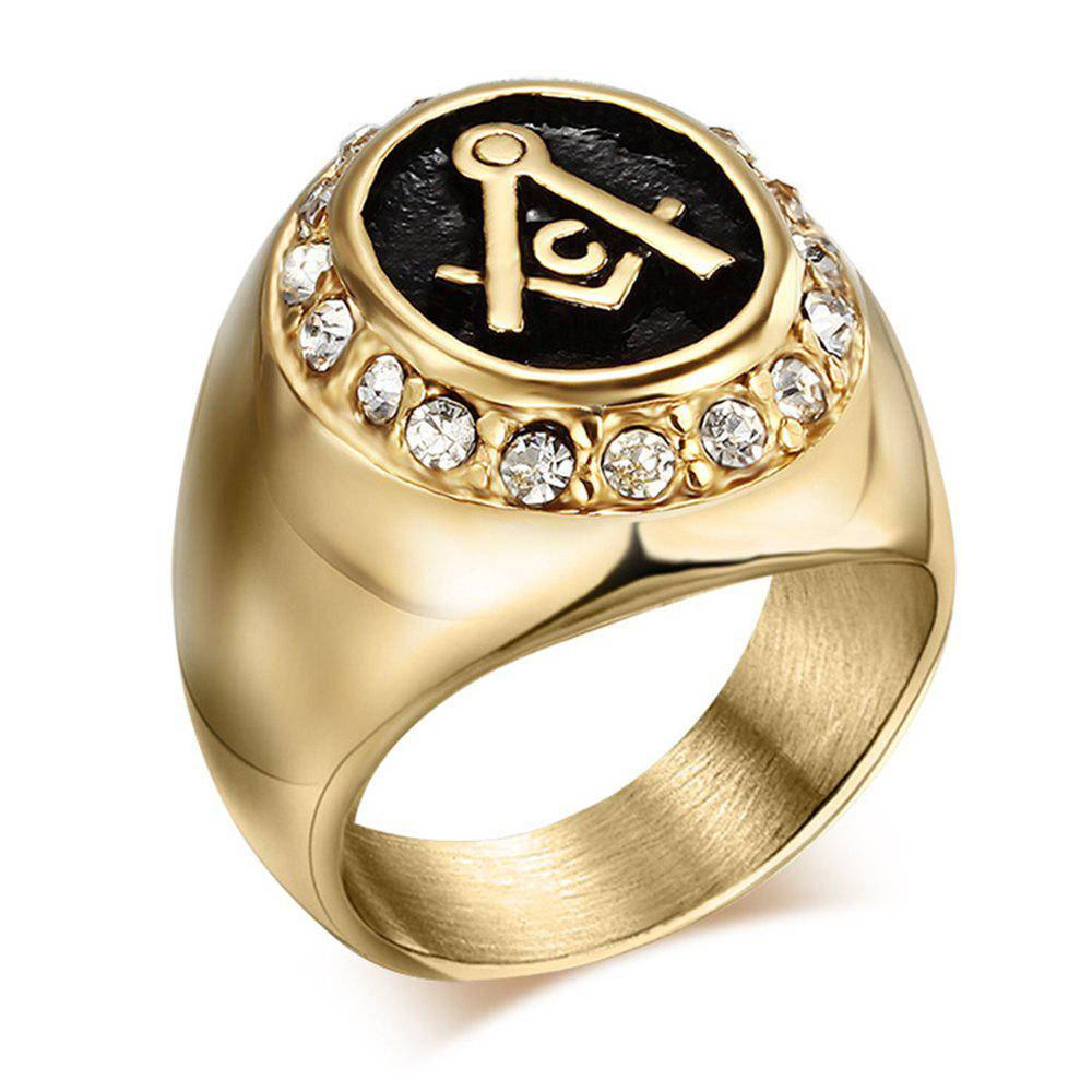 Hot Male Fashion Jewelry 18K Czech Diamond-Titanium Gold Masonic Ring