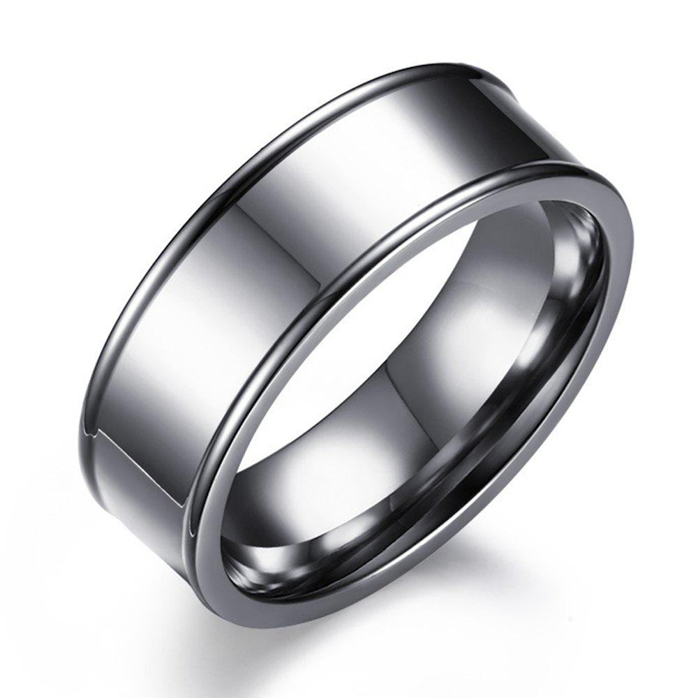 Fancy Titanium Steel Ring New Simple Concave Type Men's Ring Stainless Jewelry
