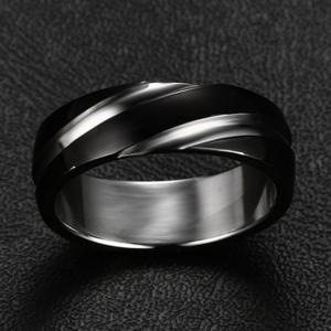 Fashion Trend Jewelry Titanium Steel Ring Black Simple Style Twill Men's Jewelry -