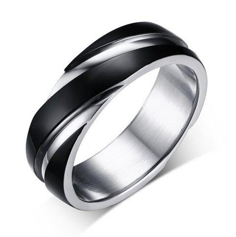 Buy Fashion Trend Jewelry Titanium Steel Ring Black Simple Style Twill Men's Jewelry