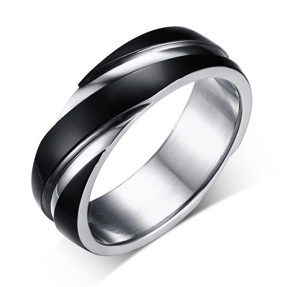Outfits Fashion Trend Jewelry Titanium Steel Ring Black Simple Style Twill Men's Jewelry