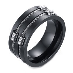 Original Tide Brand Stainless Steel Black Ring Men's Tail Ring -