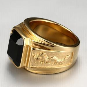 Fashion Trend Stainless Steel Vacuum Gold Plated Diamond Ring -