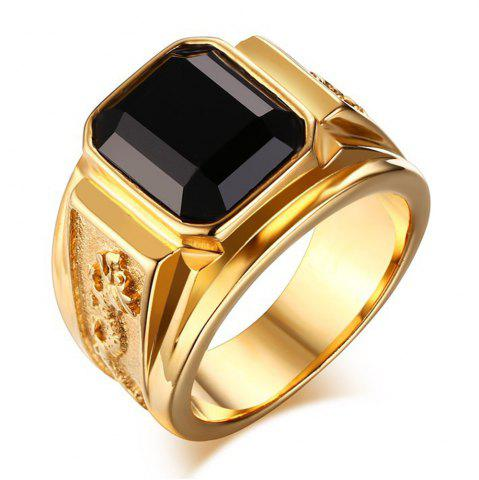 Chic Fashion Trend Stainless Steel Vacuum Gold Plated Diamond Ring