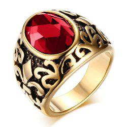 Stainless Steel Iris Sign Diamond Men's Fashionable Gemstone Ring -