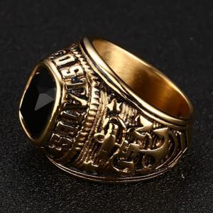 Fashion Wild Eagle Pattern Diamond Titanium Steel Men's Ring -
