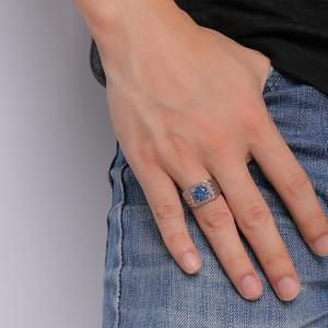 Men's Fashion Jewelery Stainless Steel Blue Zirconia Rings -