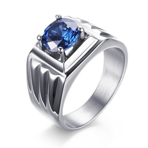 Trendy Men's Fashion Jewelery Stainless Steel Blue Zirconia Rings