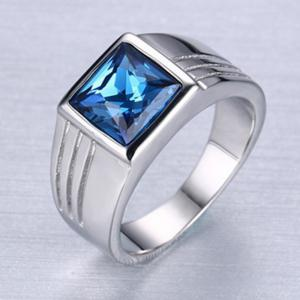 Fashion Popular Jewelry Blue Diamond Stainless Steel Men's Ring -