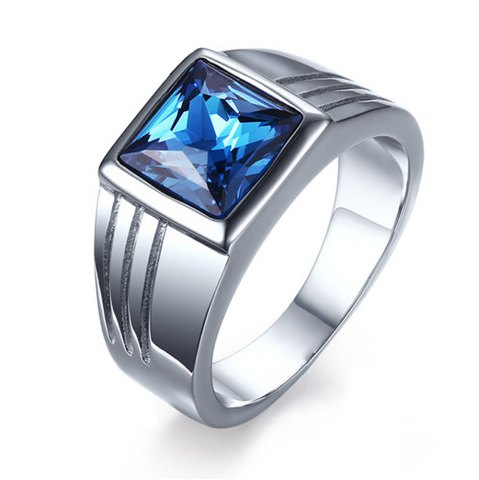 Affordable Fashion Popular Jewelry Blue Diamond Stainless Steel Men's Ring